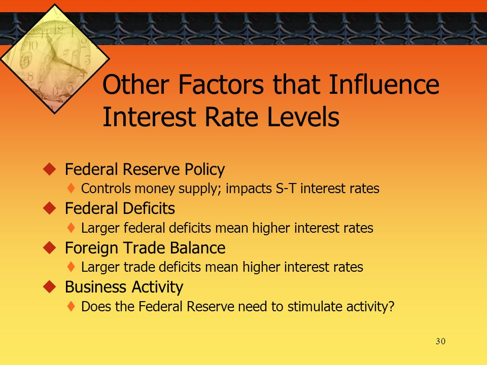 30 Other Factors that Influence Interest Rate Levels  Federal Reserve Policy  Controls money supply; impacts S-T interest rates  Federal Deficits  Larger federal deficits mean higher interest rates  Foreign Trade Balance  Larger trade deficits mean higher interest rates  Business Activity  Does the Federal Reserve need to stimulate activity