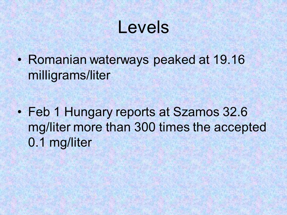Levels Romanian waterways peaked at 19.16 milligrams/liter Feb 1 Hungary reports at Szamos 32.6 mg/liter more than 300 times the accepted 0.1 mg/liter