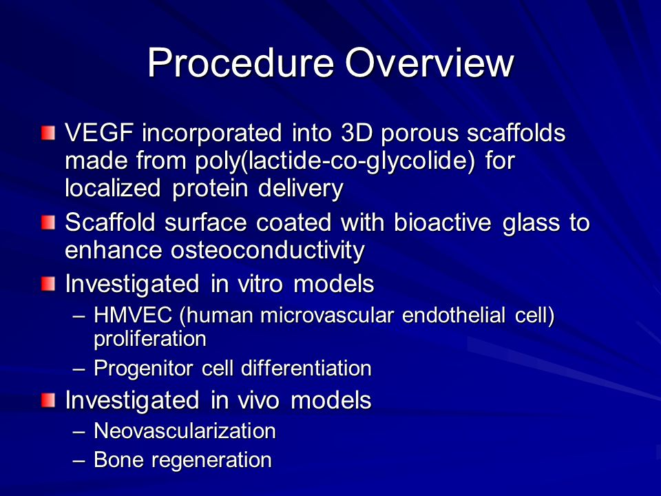 Conclusions - BG BG coating induces significant increase in proliferation of endothelial cells in vitro and in vivo –Angiogenesis further increased with the delivery of VEGF from BG coated scaffolds Large difference in masses of BG (500 μg) and VEGF (3 μg) needed for similar response –Suggests that angiogenic effects of BG may be indirect