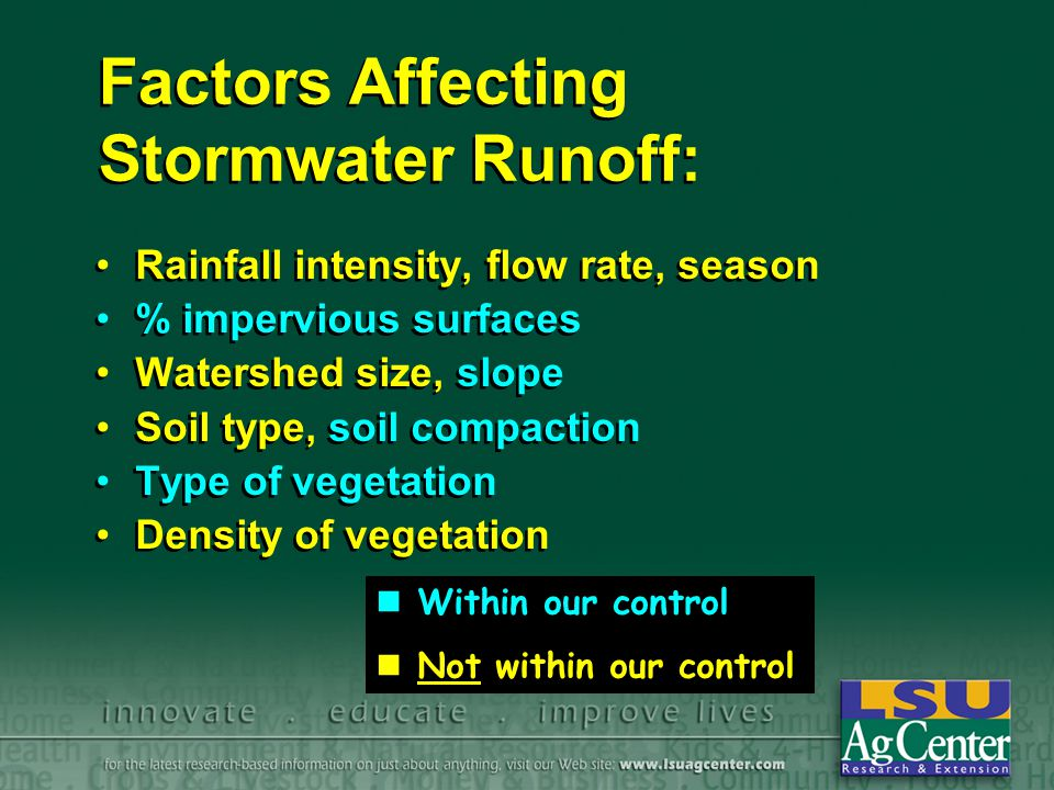 Factors Affecting Stormwater Runoff: Rainfall intensity, flow rate, season % impervious surfaces Watershed size, slope Soil type, soil compaction Type of vegetation Density of vegetation Rainfall intensity, flow rate, season % impervious surfaces Watershed size, slope Soil type, soil compaction Type of vegetation Density of vegetation Within our control Not within our control