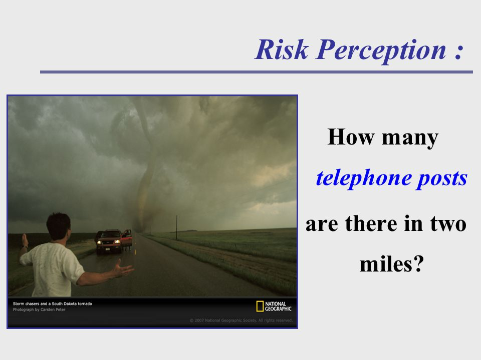 How many telephone posts are there in two miles Risk Perception :