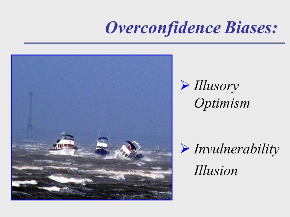 Overconfidence Biases:  Illusory Optimism  Invulnerability Illusion