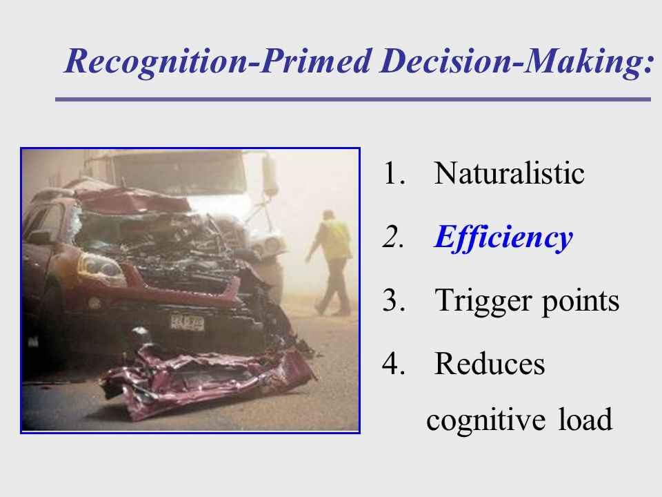 Recognition-Primed Decision-Making: 1. Naturalistic 2.