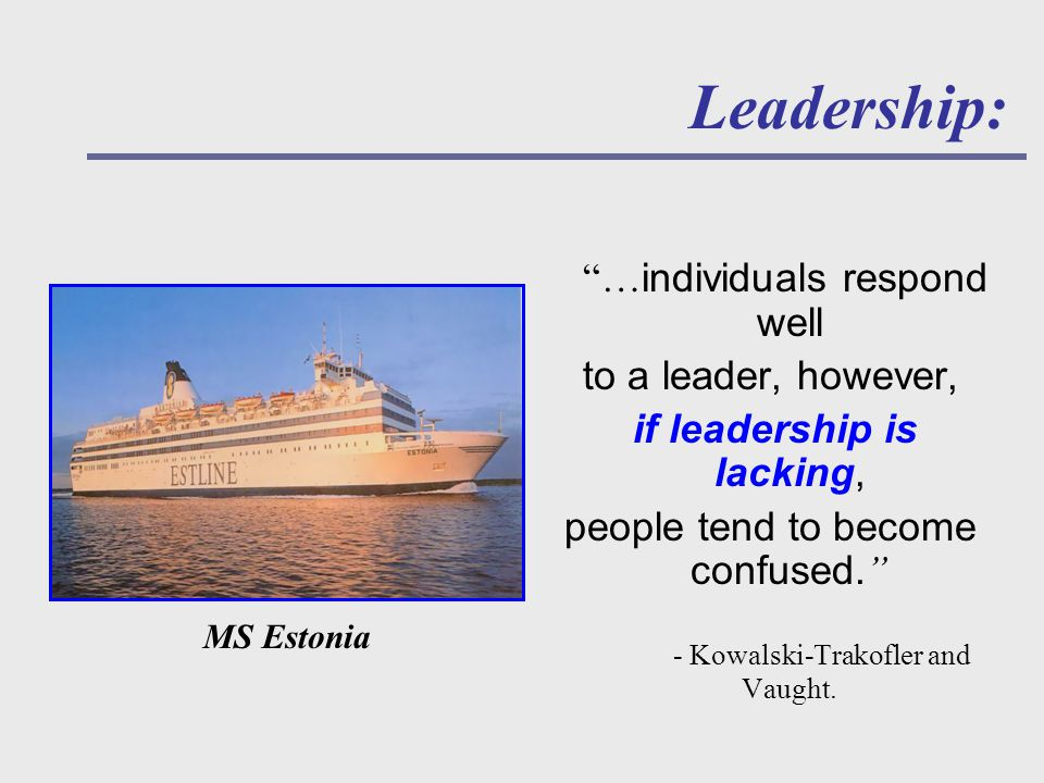 Leadership: … individuals respond well to a leader, however, if leadership is lacking, people tend to become confused.