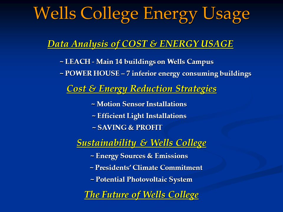 Wells College Energy Usage Data Analysis of COST & ENERGY USAGE ~ LEACH - Main 14 buildings on Wells Campus ~ POWER HOUSE – 7 inferior energy consuming buildings Cost & Energy Reduction Strategies Sustainability & Wells College ~ Energy Sources & Emissions ~ Motion Sensor Installations ~ Efficient Light Installations ~ SAVING & PROFIT ~ Potential Photovoltaic System The Future of Wells College ~ Presidents' Climate Commitment