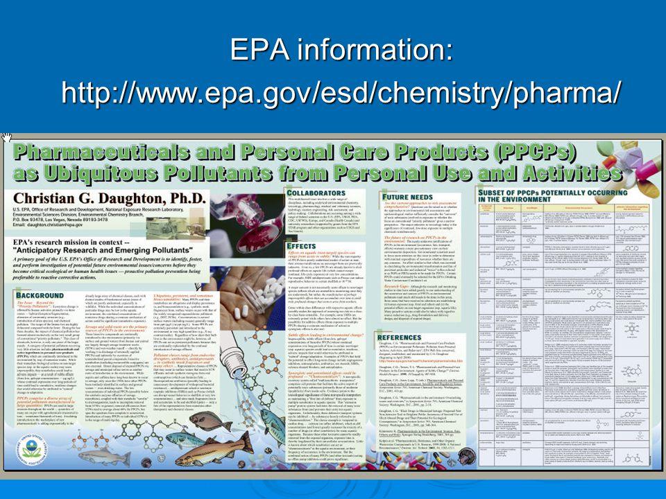 EPA information: http://www.epa.gov/esd/chemistry/pharma/