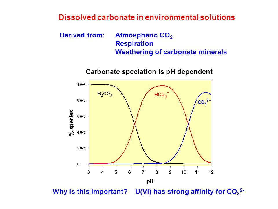 Dissolved carbonate in environmental solutions Derived from: Atmospheric CO 2 Respiration Weathering of carbonate minerals Why is this important.