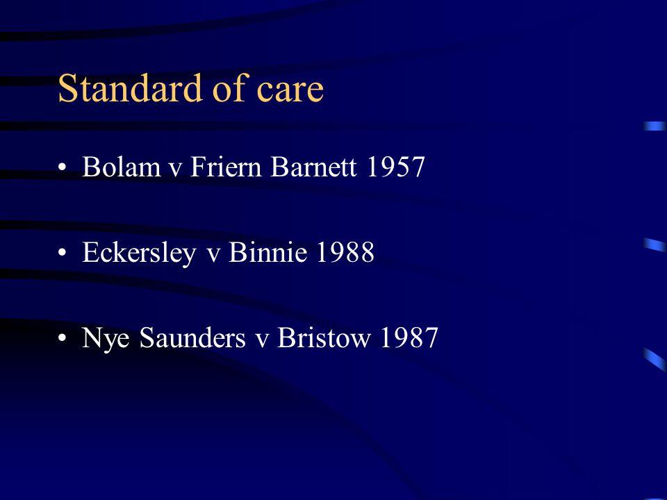 Standard of care Bolam v Friern Barnett 1957 Eckersley v Binnie 1988 Nye Saunders v Bristow 1987
