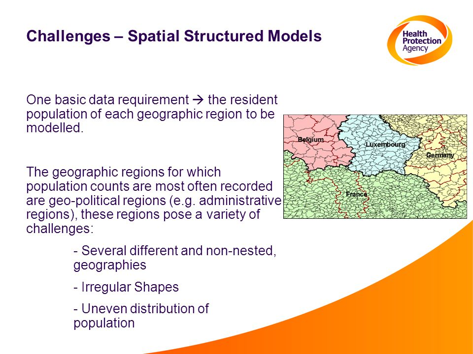 Challenges – Spatial Structured Models One basic data requirement  the resident population of each geographic region to be modelled.