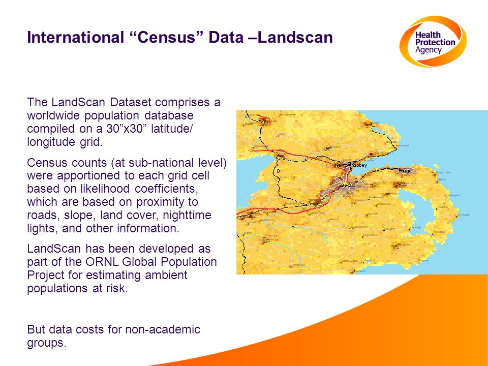 International Census Data –Landscan The LandScan Dataset comprises a worldwide population database compiled on a 30 x30 latitude/ longitude grid.
