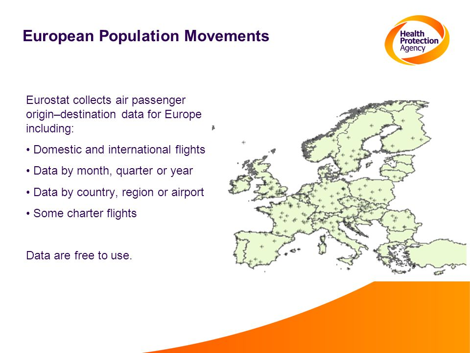 Eurostat collects air passenger origin–destination data for Europe including: Domestic and international flights Data by month, quarter or year Data by country, region or airport Some charter flights Data are free to use.