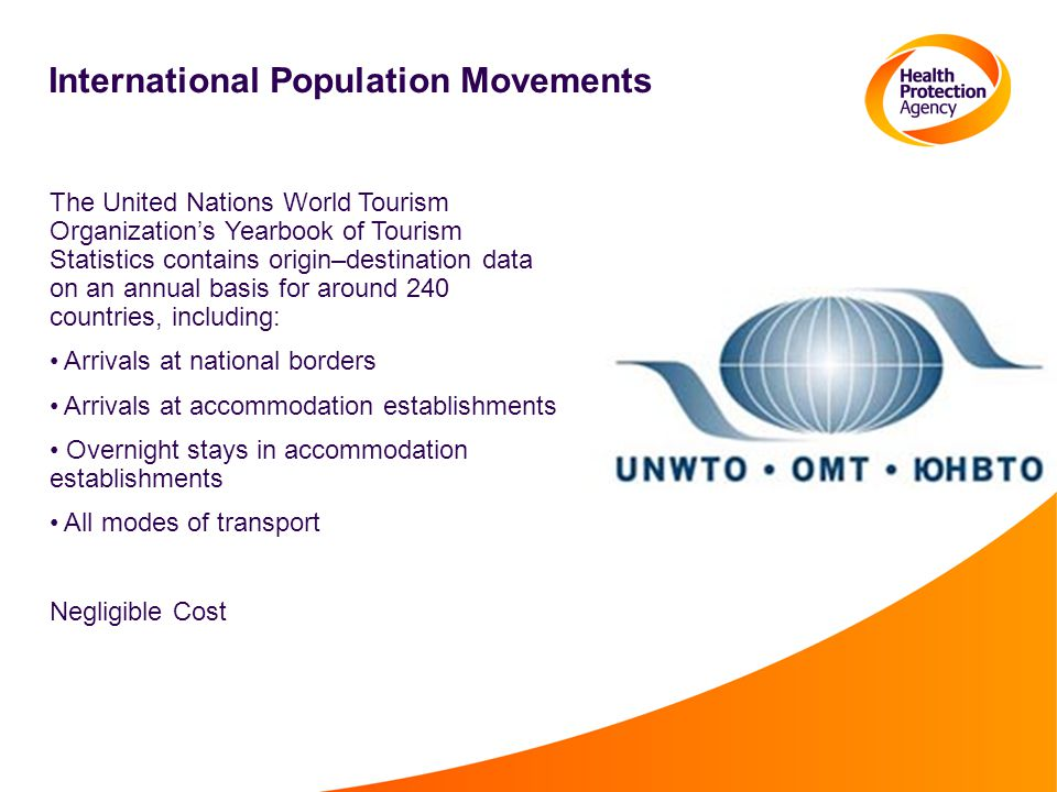 International Population Movements The United Nations World Tourism Organization's Yearbook of Tourism Statistics contains origin–destination data on an annual basis for around 240 countries, including: Arrivals at national borders Arrivals at accommodation establishments Overnight stays in accommodation establishments All modes of transport Negligible Cost