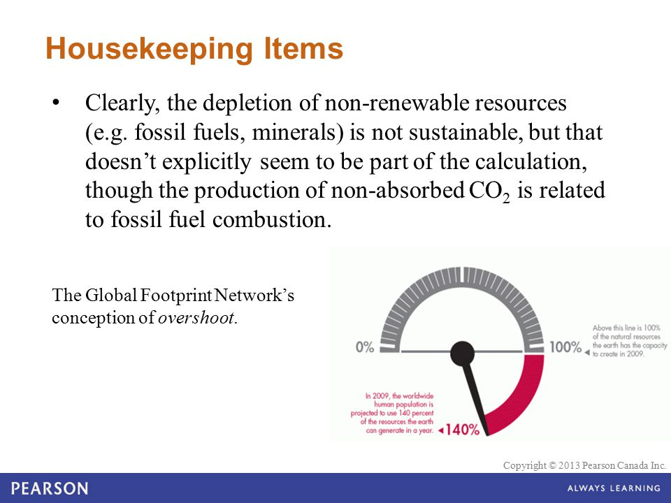 © 2010 Pearson Education Canada Copyright © 2013 Pearson Canada Inc. Housekeeping Items Clearly, the depletion of non-renewable resources (e.g. fossil