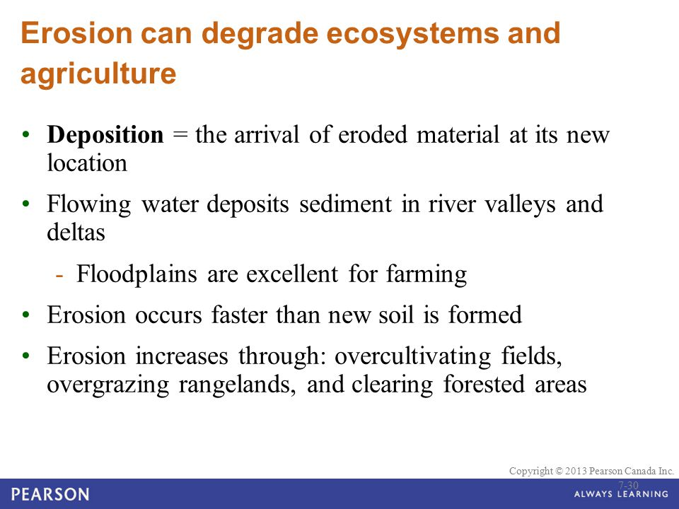 © 2010 Pearson Education Canada Copyright © 2013 Pearson Canada Inc. Erosion can degrade ecosystems and agriculture Deposition = the arrival of eroded
