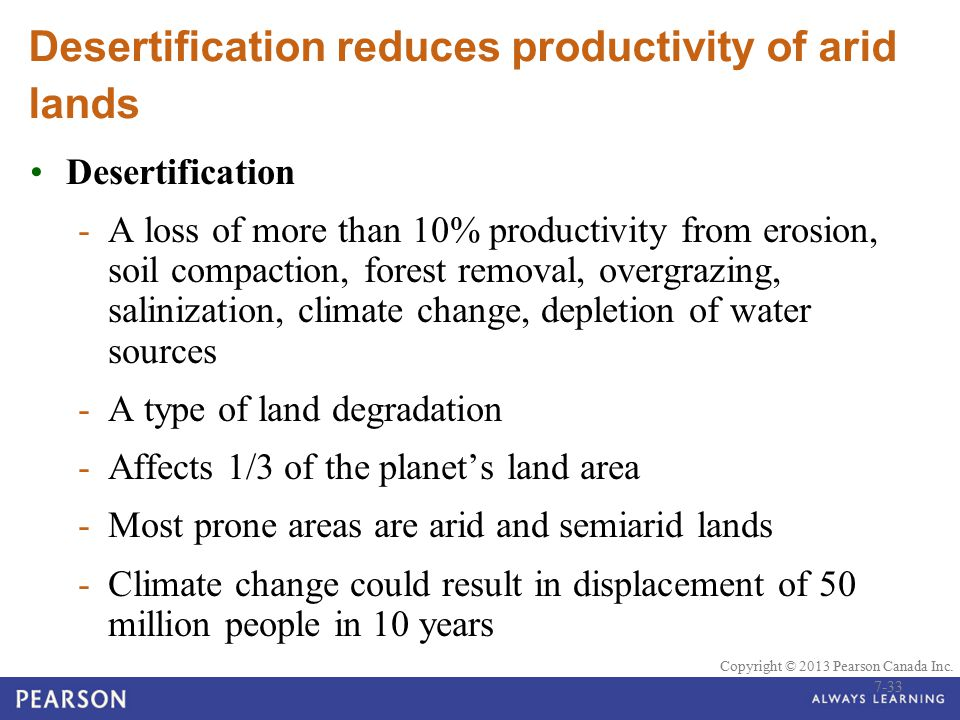 © 2010 Pearson Education Canada Copyright © 2013 Pearson Canada Inc. Desertification reduces productivity of arid lands Desertification -A loss of mor