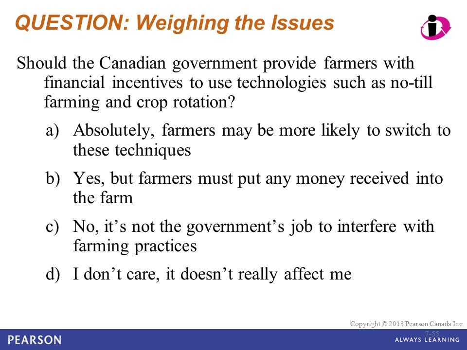 © 2010 Pearson Education Canada Copyright © 2013 Pearson Canada Inc. QUESTION: Weighing the Issues Should the Canadian government provide farmers with