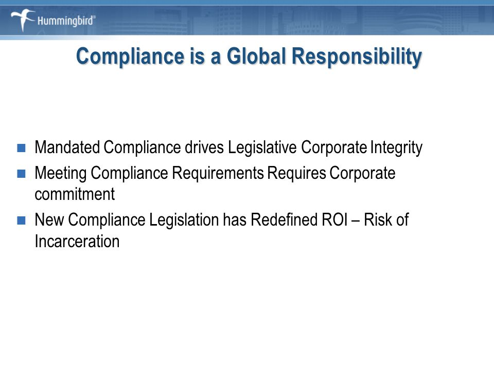 Agenda Aspects of Compliance Management Privacy Compliance Building a Compliance Architecture Components of a Compliance Architecture Summary Questions