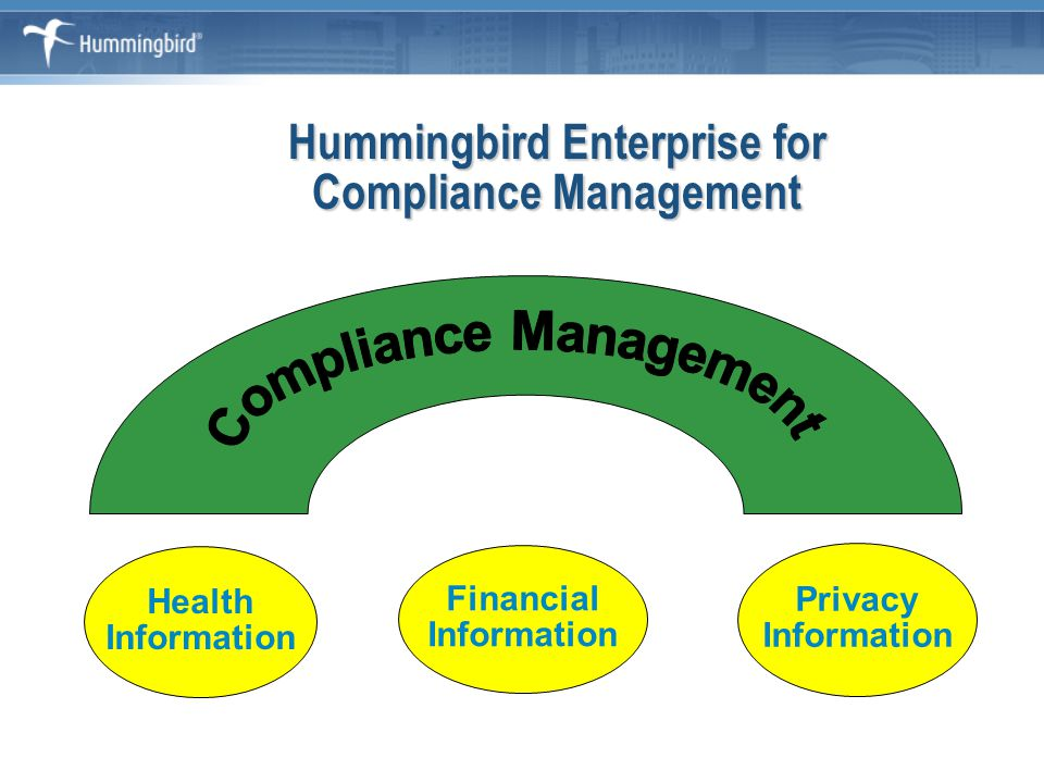 Compliance Architecture ROI Understand the compliance regulations that govern your business Turn compliance into a strategic advantage Define your compliance architecture Develop an implementation plan for success Monitor and measure results Establish continuous improvement process