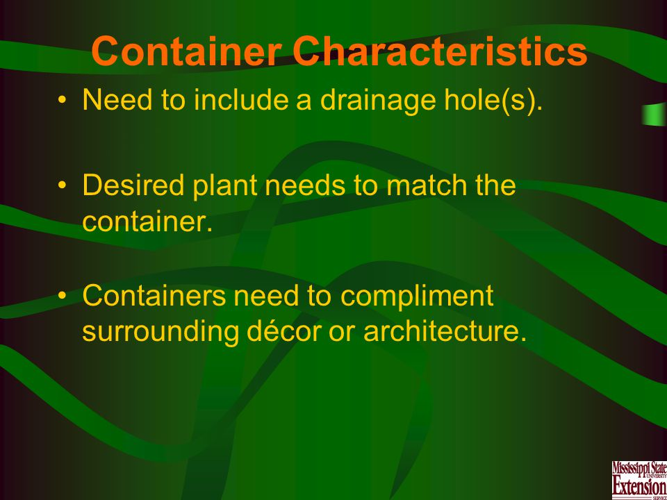 Container Characteristics Need to include a drainage hole(s).
