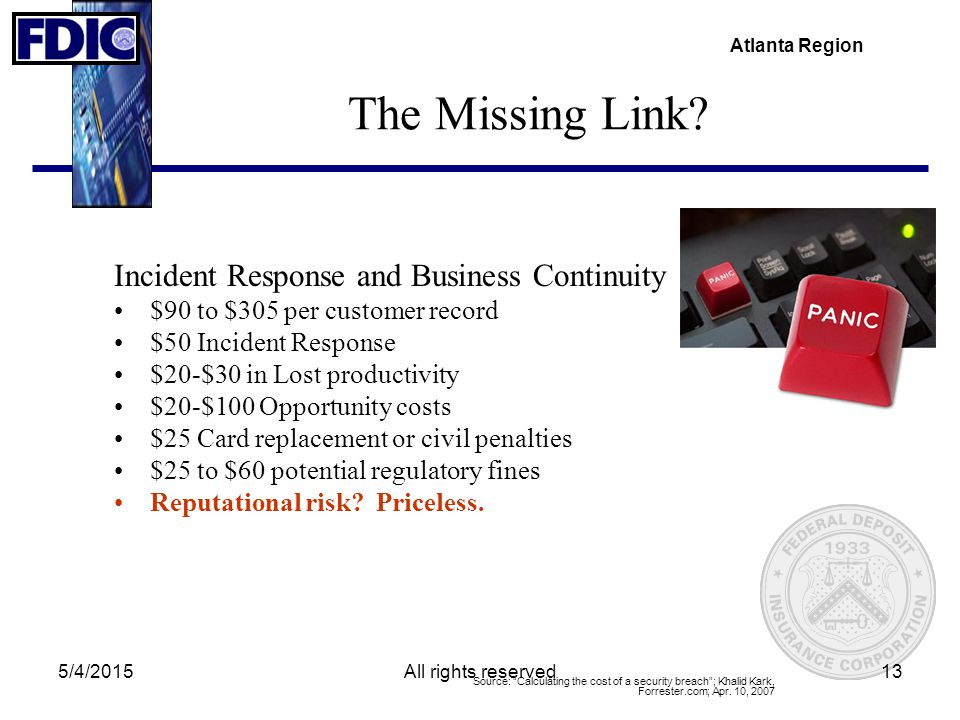 Atlanta Region 5/4/2015All rights reserved13 The Missing Link? Incident Response and Business Continuity $90 to $305 per customer record $50 Incident