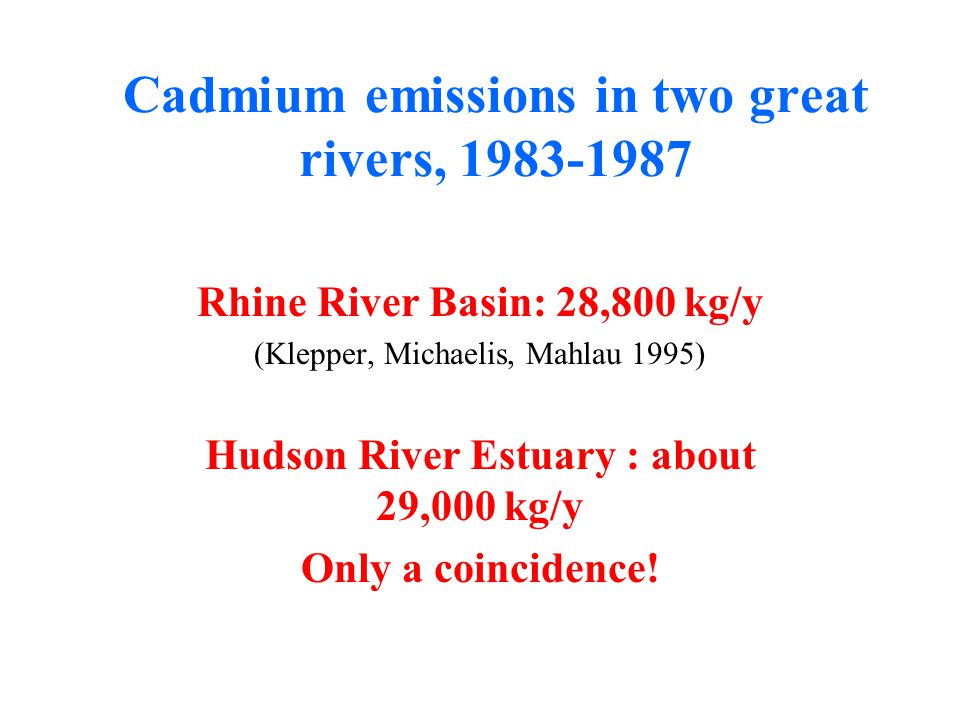 Cadmium emissions in two great rivers, 1983-1987 Rhine River Basin: 28,800 kg/y (Klepper, Michaelis, Mahlau 1995) Hudson River Estuary : about 29,000