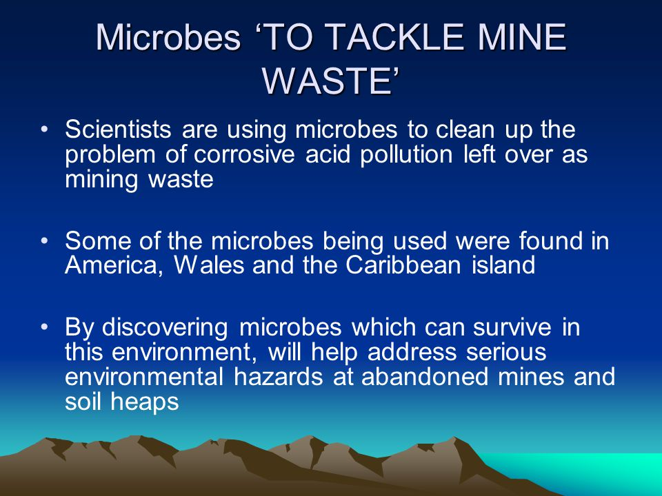 Microbes 'TO TACKLE MINE WASTE' Scientists are using microbes to clean up the problem of corrosive acid pollution left over as mining waste Some of th