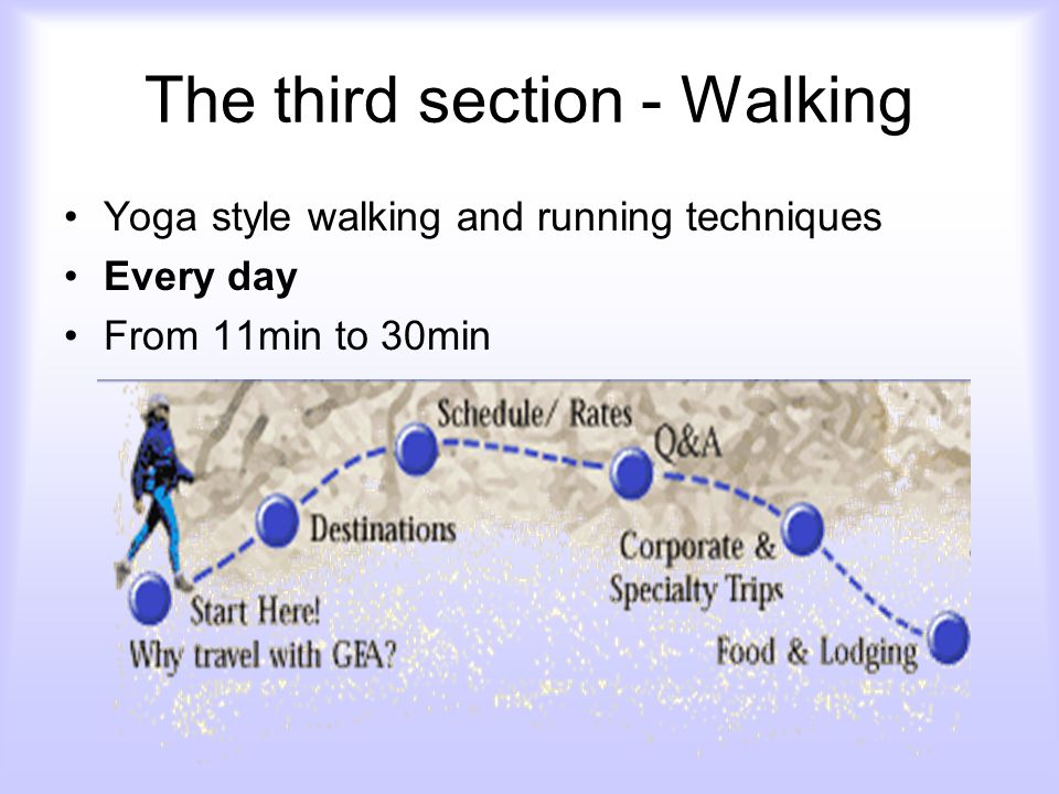 The third section - Walking Yoga style walking and running techniques Every day From 11min to 30min