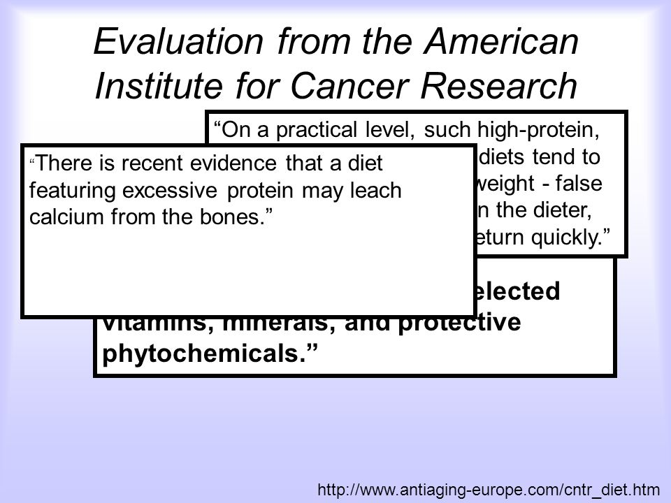 Evaluation from the American Institute for Cancer Research Atkins diet Hollywood diet Protein Power diet http://www.antiaging-europe.com/cntr_diet.htm By omitting certain foods, and sometimes even entire food groups, these diets are deficient in such major nutrients as dietary fiber and carbohydrates, as well as in selected vitamins, minerals, and protective phytochemicals. On a practical level, such high-protein, high-fat, low-carbohydrate diets tend to promote the loss of water weight - false sense of accomplishment in the dieter, this weight can and does return quickly. There is recent evidence that a diet featuring excessive protein may leach calcium from the bones.