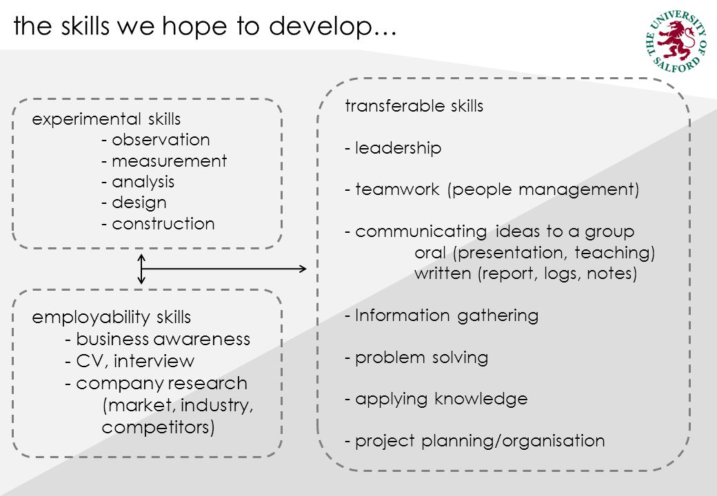 the skills we hope to develop… experimental skills - observation - measurement - analysis - design - construction employability skills - business awareness - CV, interview - company research (market, industry, competitors) transferable skills - leadership - teamwork (people management) - communicating ideas to a group oral (presentation, teaching) written (report, logs, notes) - Information gathering - problem solving - applying knowledge - project planning/organisation
