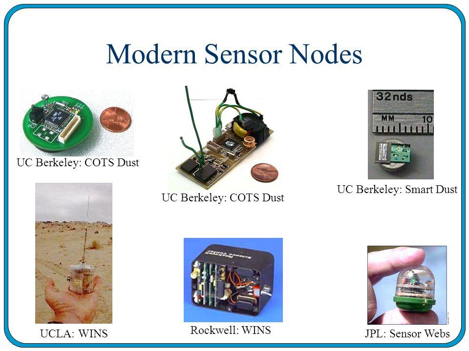 Modern Sensor Nodes UC Berkeley: COTS Dust UC Berkeley: Smart Dust UCLA: WINS Rockwell: WINS JPL: Sensor Webs