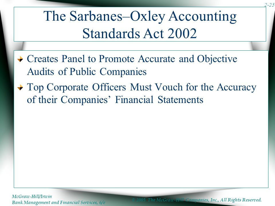 McGraw-Hill/Irwin Bank Management and Financial Services, 6/e © 2005 The McGraw-Hill Companies, Inc., All Rights Reserved. 2-25 The Sarbanes–Oxley Acc