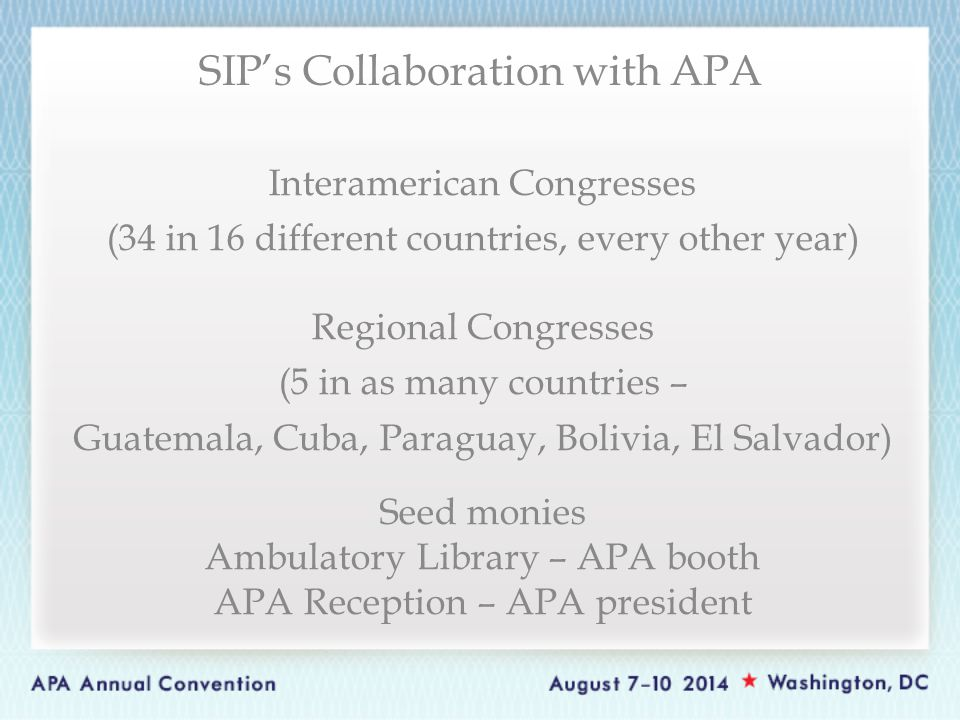 Interamerican Congresses (34 in 16 different countries, every other year) Regional Congresses (5 in as many countries – Guatemala, Cuba, Paraguay, Bol