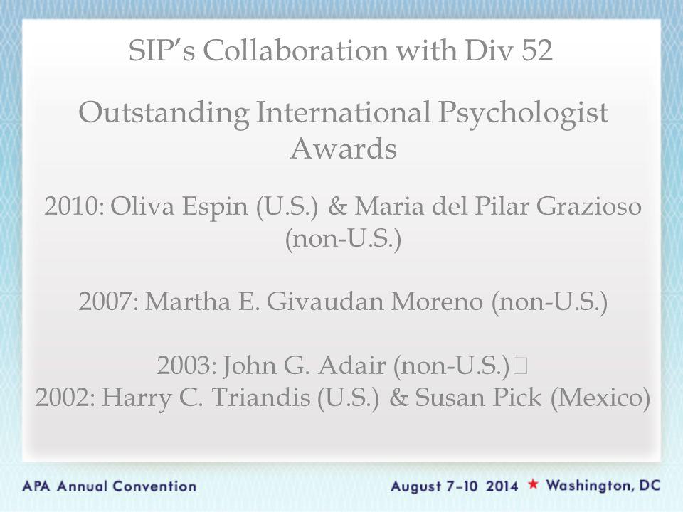Outstanding International Psychologist Awards 2010: Oliva Espin (U.S.) & Maria del Pilar Grazioso (non-U.S.) 2007: Martha E.