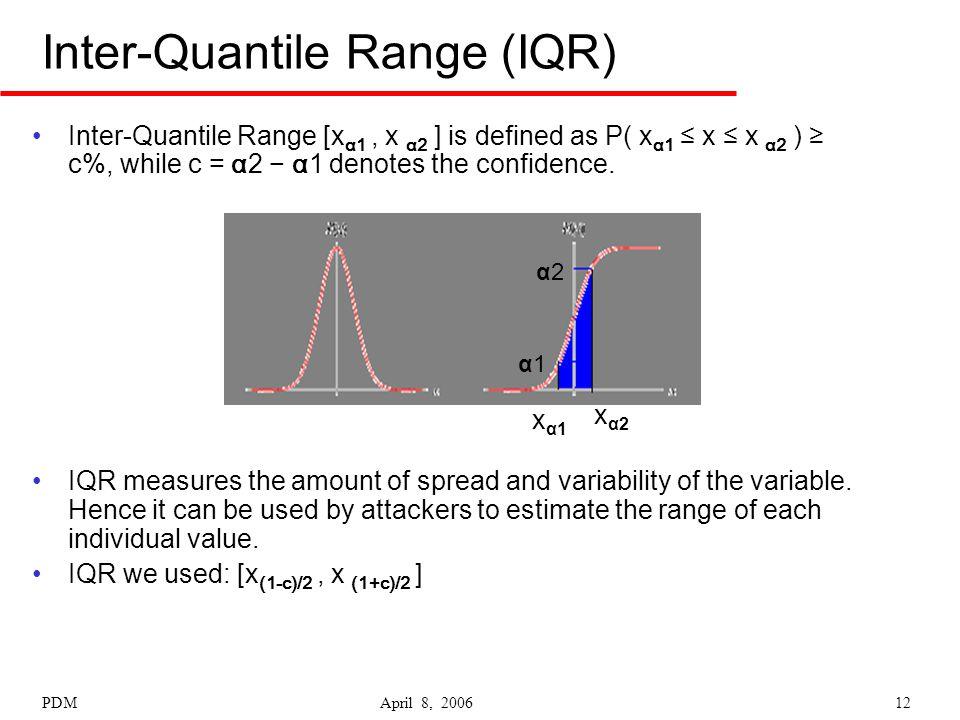 PDM April 8, 200612 Inter-Quantile Range (IQR) Inter-Quantile Range [x α1, x α2 ] is defined as P( x α1 ≤ x ≤ x α2 ) ≥ c%, while c = α2 − α1 denotes t
