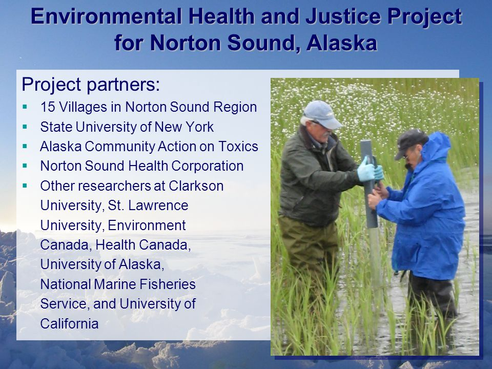 Project partners:  15 Villages in Norton Sound Region  State University of New York  Alaska Community Action on Toxics  Norton Sound Health Corporation  Other researchers at Clarkson University, St.