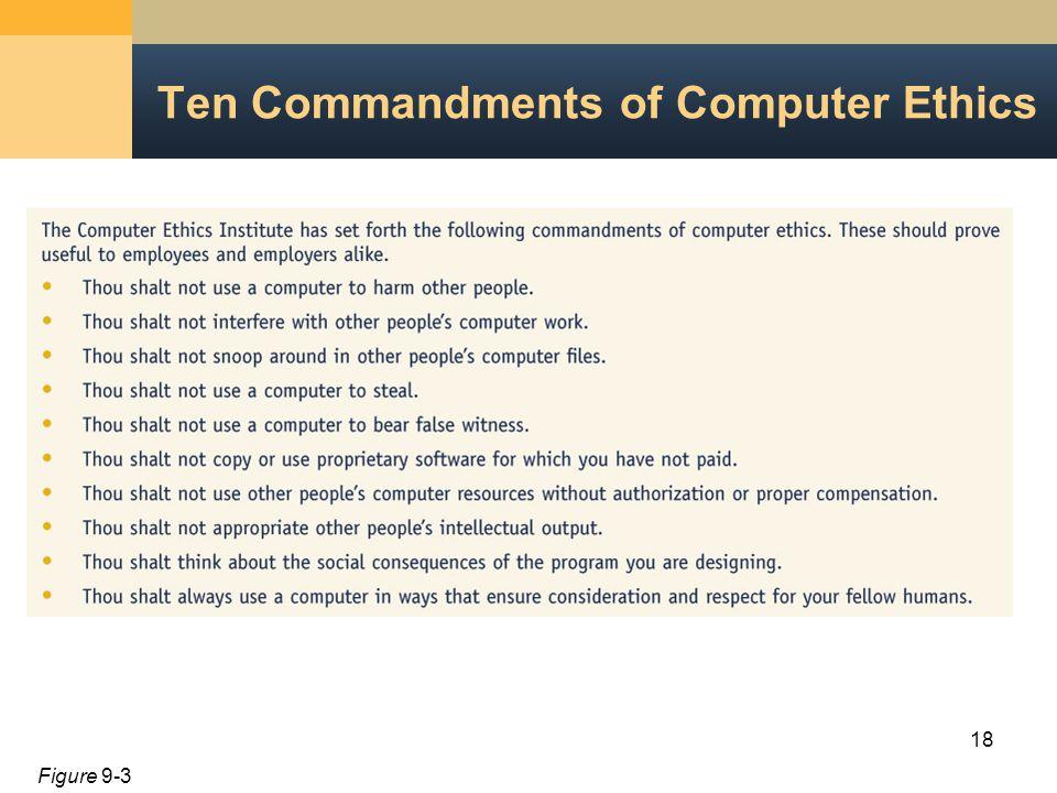 18 Ten Commandments of Computer Ethics Figure 9-3