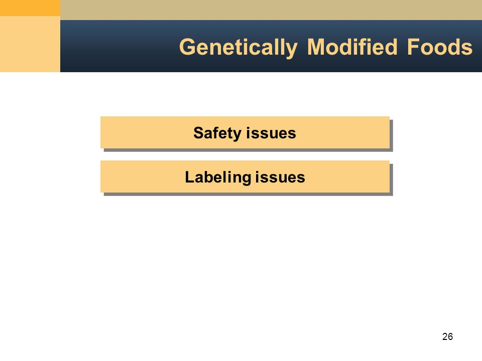 26 Genetically Modified Foods Safety issues Labeling issues