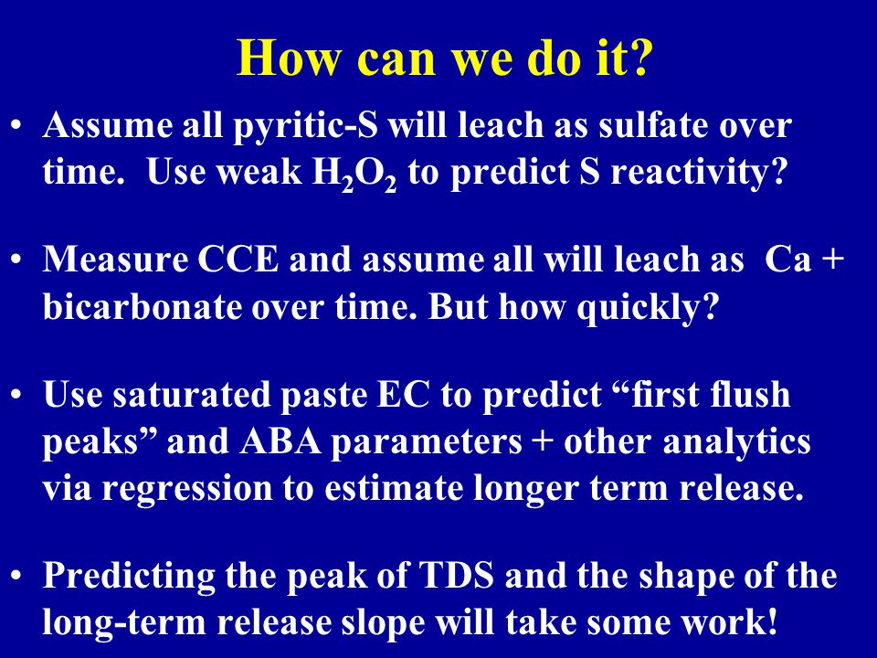 How can we do it. Assume all pyritic-S will leach as sulfate over time.