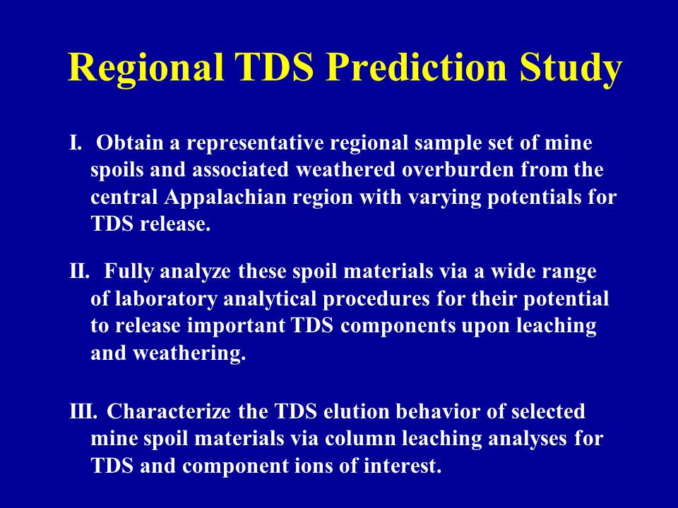 Regional TDS Prediction Study I.