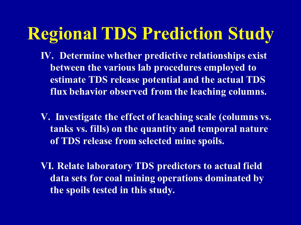 Regional TDS Prediction Study IV.