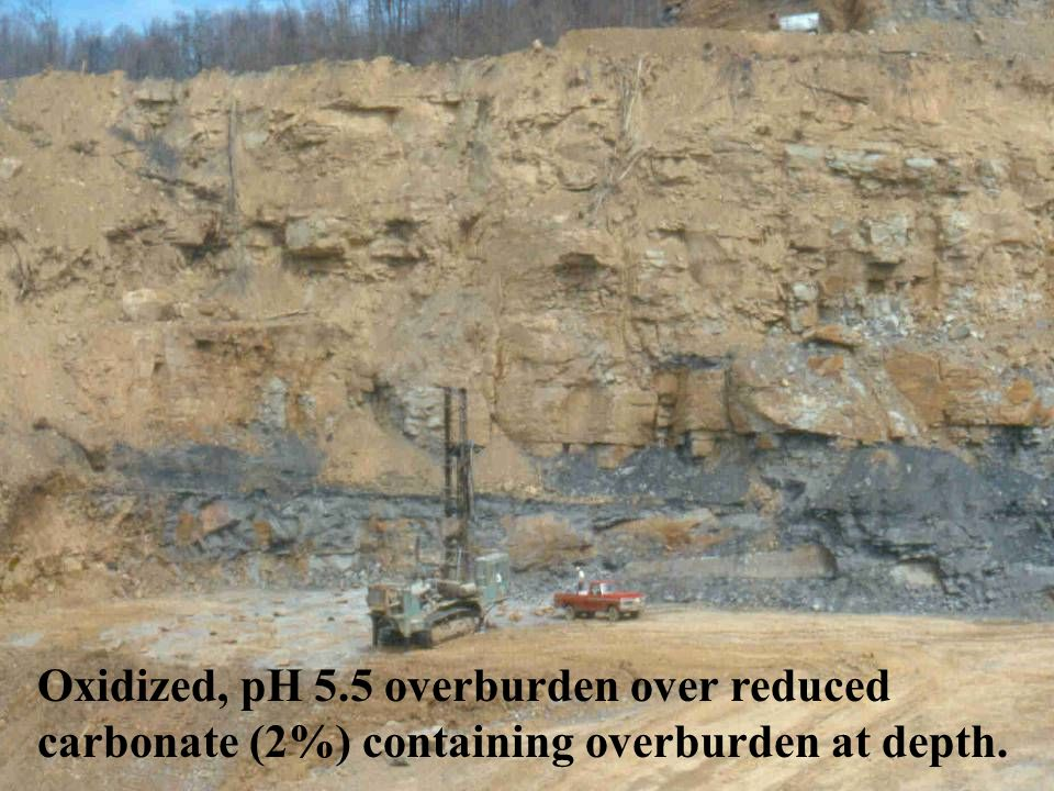 Oxidized, pH 5.5 overburden over reduced carbonate (2%) containing overburden at depth.