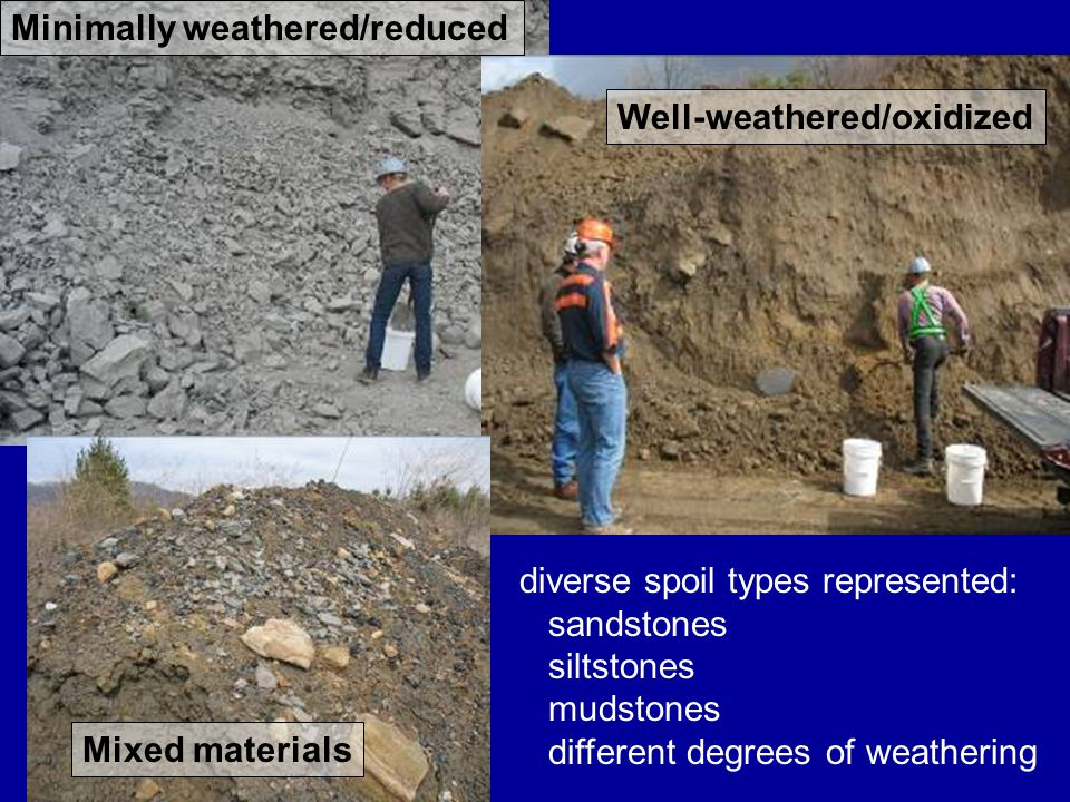Minimally weathered/reduced Well-weathered/oxidized Mixed materials diverse spoil types represented: sandstones siltstones mudstones different degrees of weathering