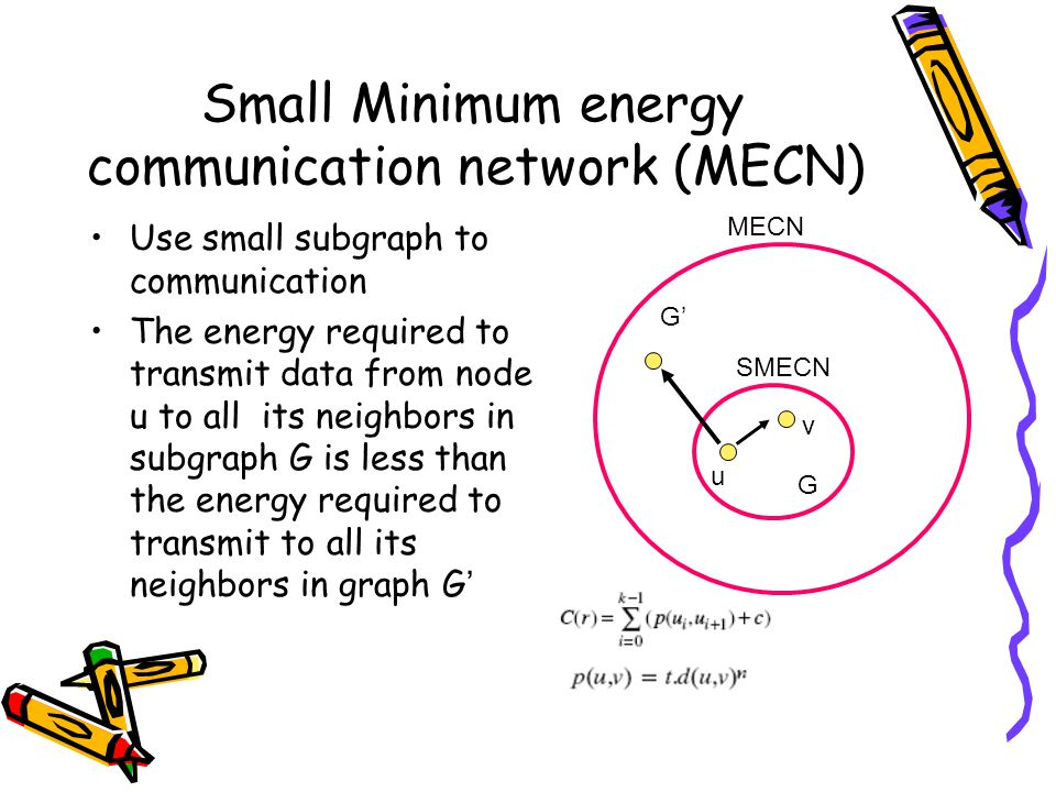 Small Minimum energy communication network (MECN) Use small subgraph to communication The energy required to transmit data from node u to all its neighbors in subgraph G is less than the energy required to transmit to all its neighbors in graph G ' G' G u v MECN SMECN