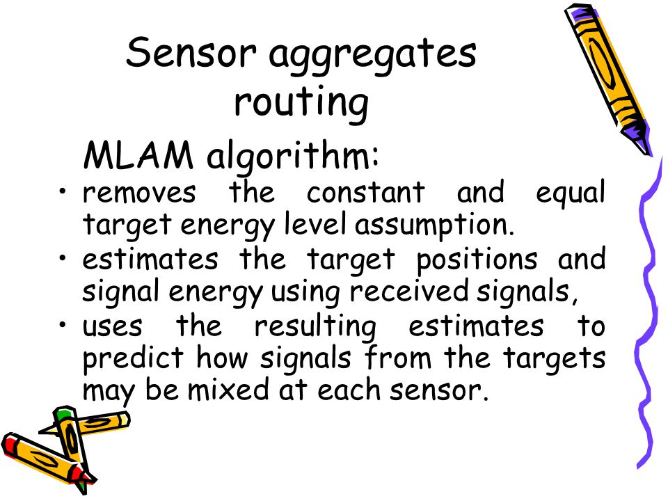 Sensor aggregates routing MLAM algorithm: removes the constant and equal target energy level assumption.