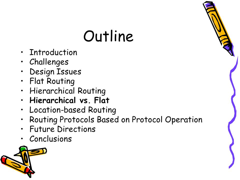 Outline Introduction Challenges Design Issues Flat Routing Hierarchical Routing Hierarchical vs.