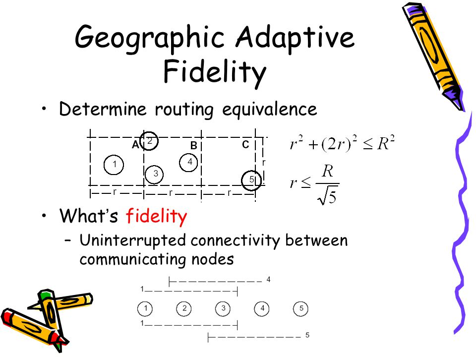 Geographic Adaptive Fidelity Determine routing equivalence What ' s fidelity –Uninterrupted connectivity between communicating nodes