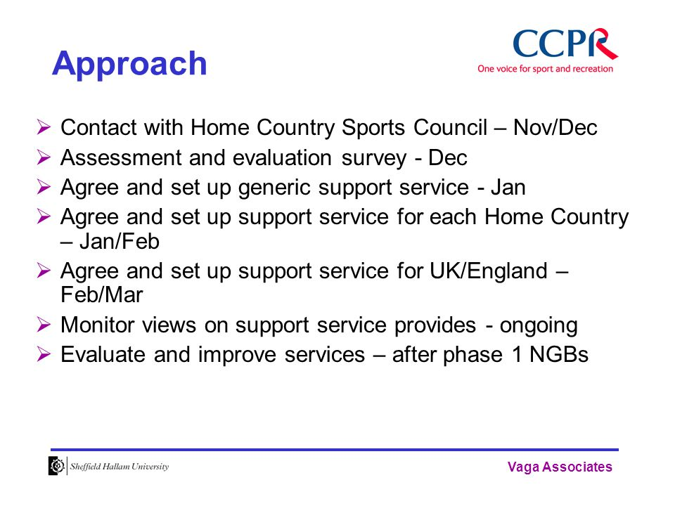 Vaga Associates Approach  Contact with Home Country Sports Council – Nov/Dec  Assessment and evaluation survey - Dec  Agree and set up generic support service - Jan  Agree and set up support service for each Home Country – Jan/Feb  Agree and set up support service for UK/England – Feb/Mar  Monitor views on support service provides - ongoing  Evaluate and improve services – after phase 1 NGBs