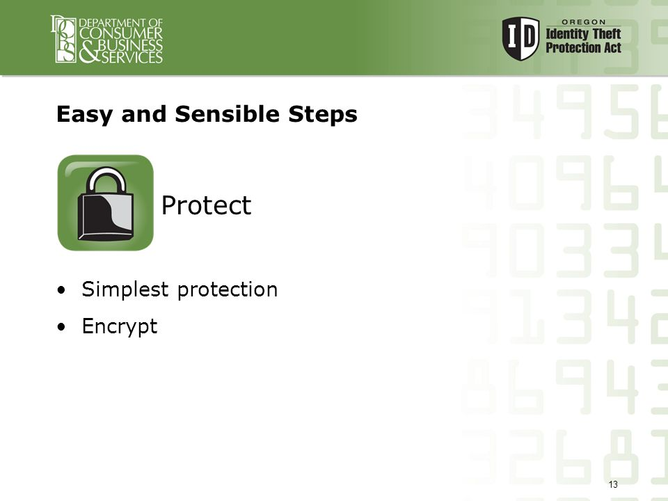 13 Easy and Sensible Steps Simplest protection Encrypt Protect