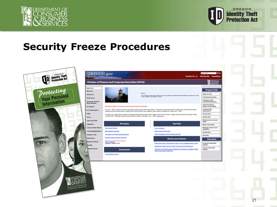 21 Security Freeze Procedures