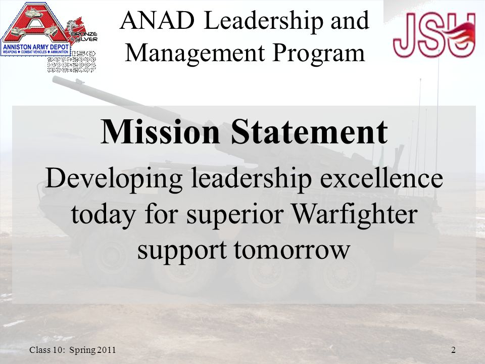 ANAD Participants JSU Faculty Subject Matter Review Individual Internships Group Recommendations Questions 3Class 10: Spring 2011 ANAD Leadership and Management Program Agenda